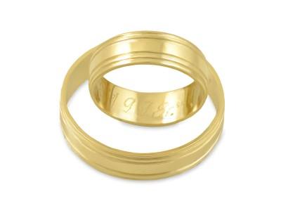 Брачни халки от жълто злато с декоративни линии