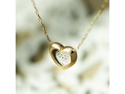 Златно колие с обемно сърце